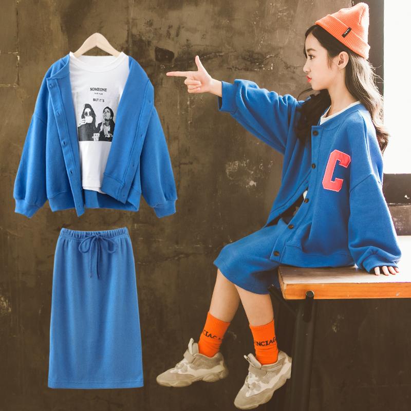 女童秋装套装裙2019新款洋气韩版时髦网红中大童装儿童运动衣服潮