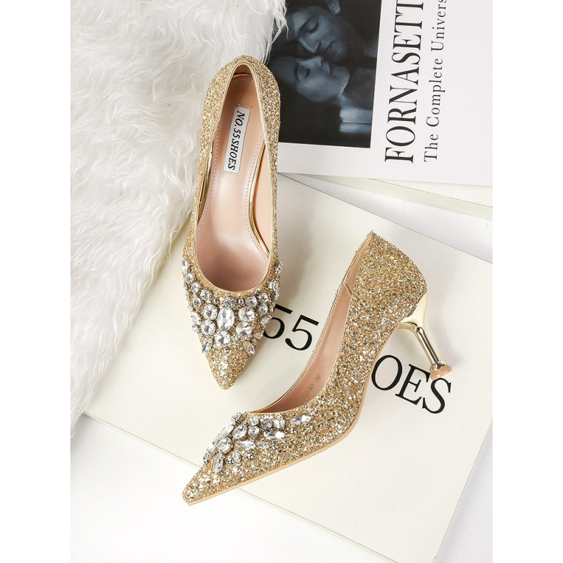 European and American sexy evening dress shoes, banquet pointed shining diamond high heels, metal heel Sequin womens single shoes, wedding dress shoes