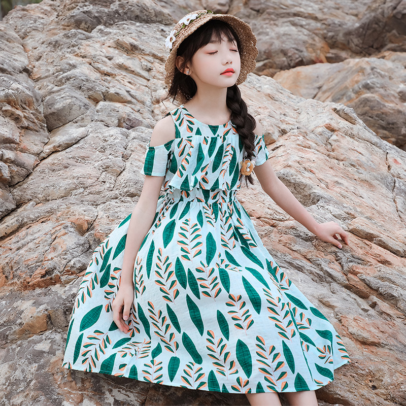 Girls Beach skirt seaside holiday 2020 summer dress new super foreign girls skirt middle school childrens dress