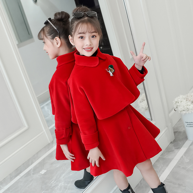 Girls 2021 spring dress set new years clothes New Years clothes new foreign style mink fashionable skirt two-piece set