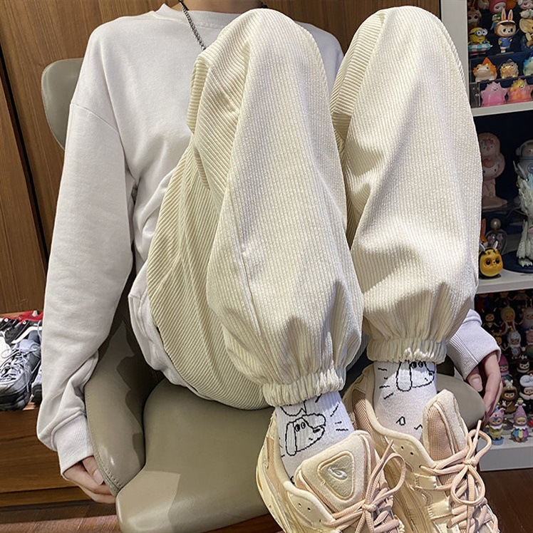 Corduroy pants childrens autumn and winter Plush thickened loose straight tube high waist slim casual sports pants legged wide leg pants