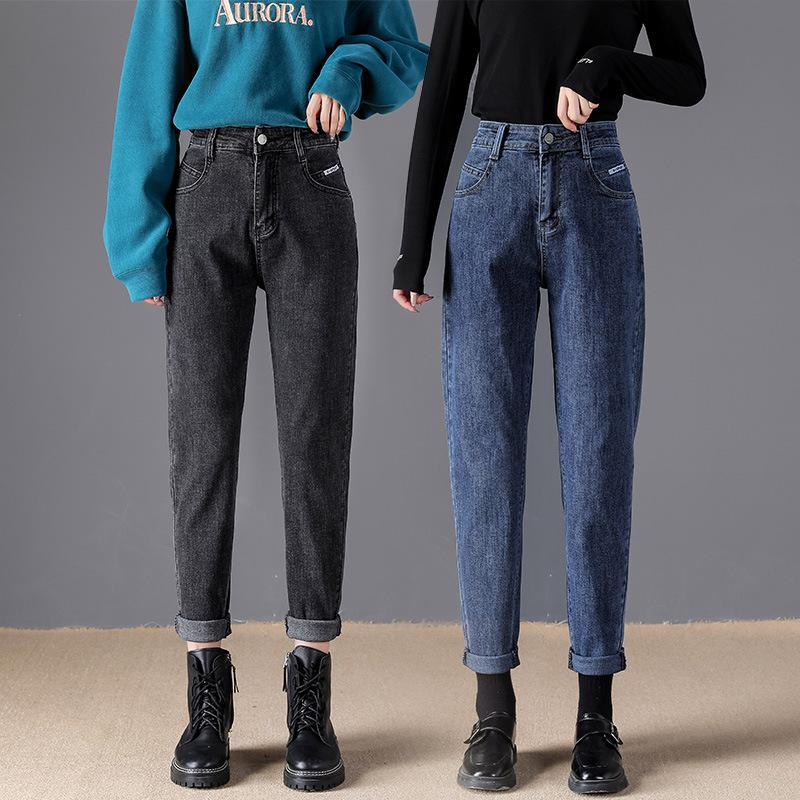 High waist jeans womens loose 2020 autumn winter clothes new slim gray versatile radish Harlan pants dad pants