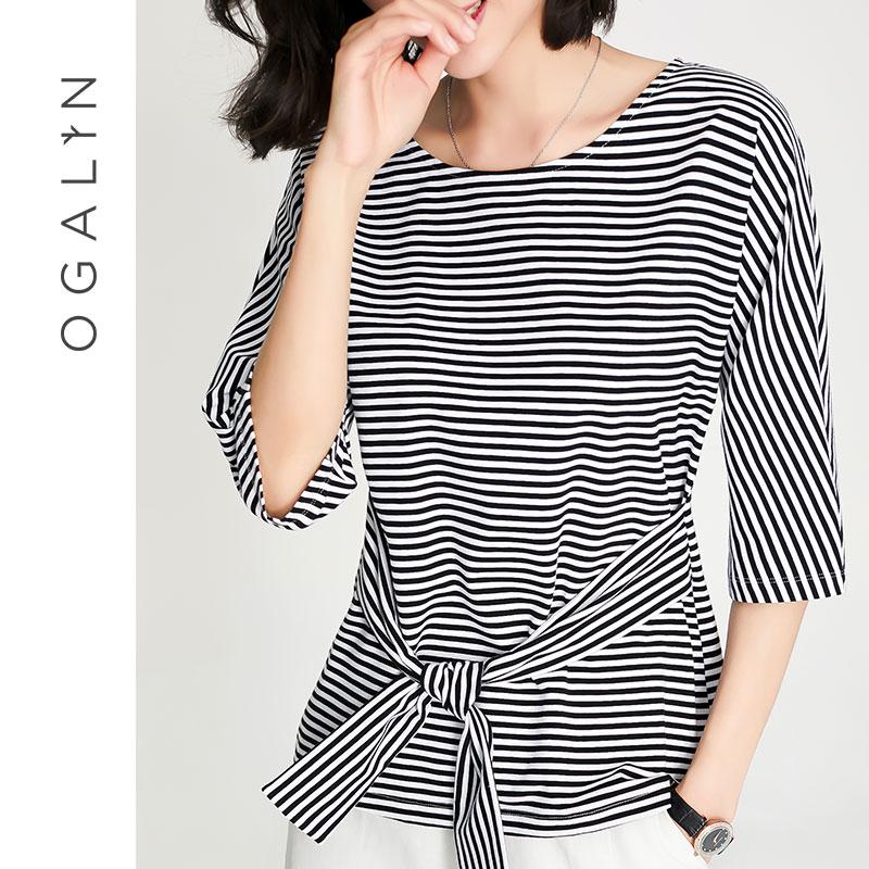 欧茄林条纹t恤女2018秋季新款五分袖套头显瘦系带收腰小心机上衣Q