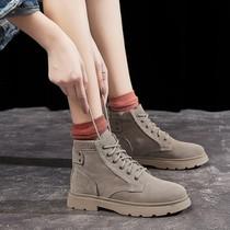3B742DD0冬商场新款烟筒靴皮短靴加绒女2020百丽粗跟切尔西靴女