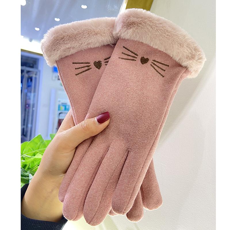 手套女冬天加绒加厚保暖韩版ins可爱触屏麂皮绒防寒秋冬骑车手套