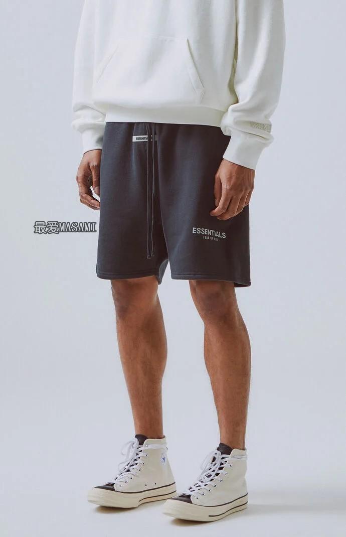 FOG Fear Of God Essentials Shorts 19FW反光刺绣字母抽绳短裤