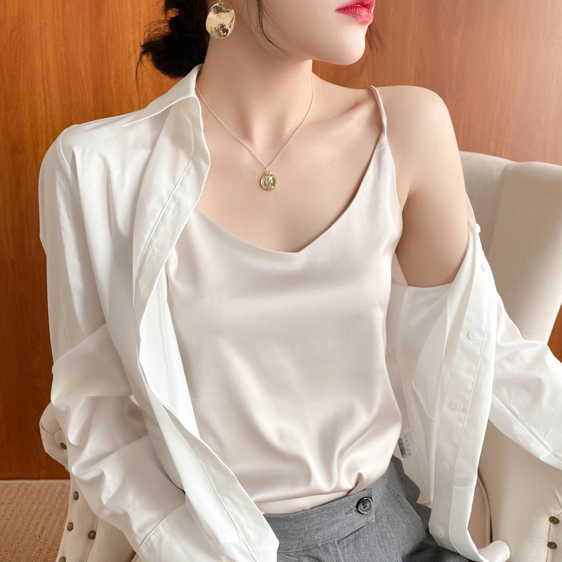 Exquisite silk suspender T-shirt, female Satin backing, French style simple outer small vest, professional with suit and inner wear
