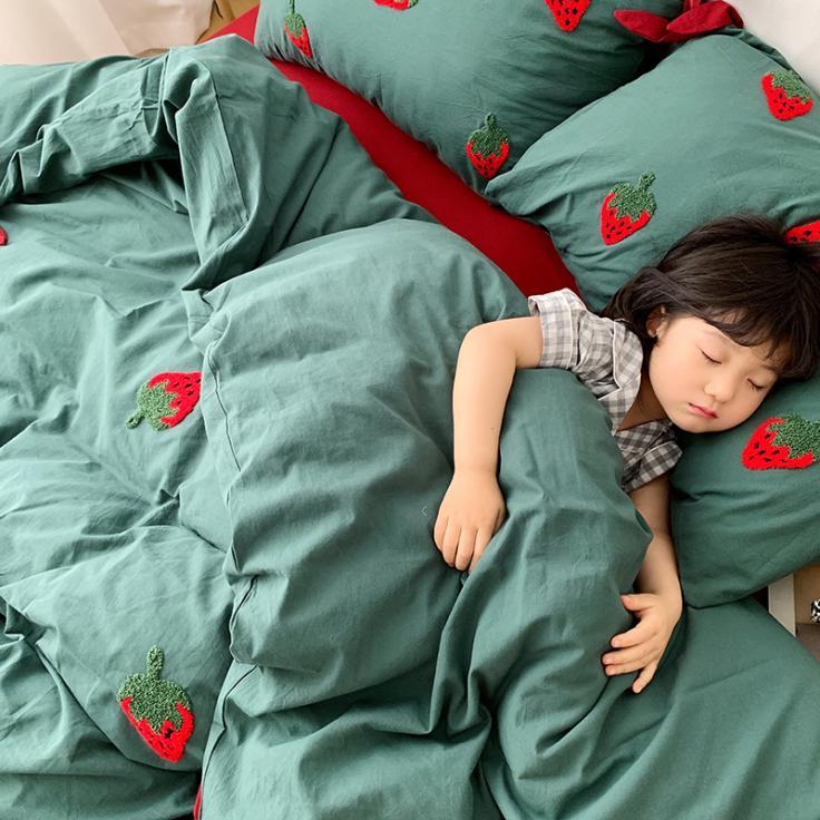 小草莓绿全棉纯棉学生儿童刺绣四件套床单被套罩小清新床上用品