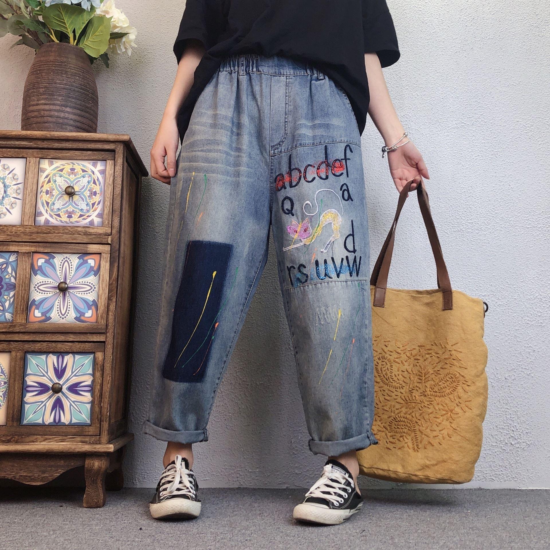 小耳出品新款21春夏大码女胖mm高腰九分裤贴布撞色裤子宽松牛仔裤