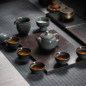 龙泉青瓷功夫茶具套装手工盖碗茶杯茶壶整套铁胎冰裂陶瓷泡茶家用