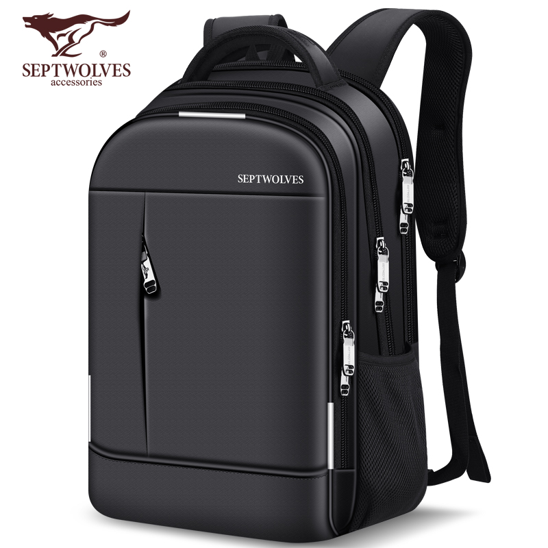 Seven wolf backpack men's large capacity men's Travel Backpack leisure business travel bag large computer bag schoolbag