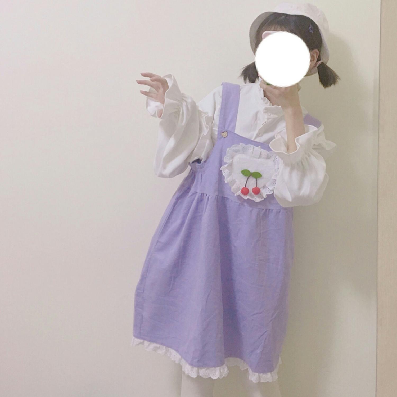春秋女装韩版日系软妹少女可爱拼色木耳边背带裙学生无袖连衣裙萌