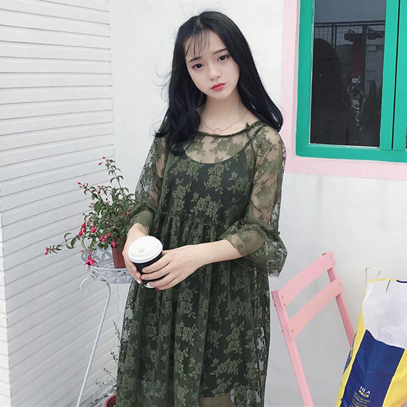 春夏女裝韓版中長款氣質寬鬆顯瘦蕾絲長袖連衣裙長裙+打底吊帶裙