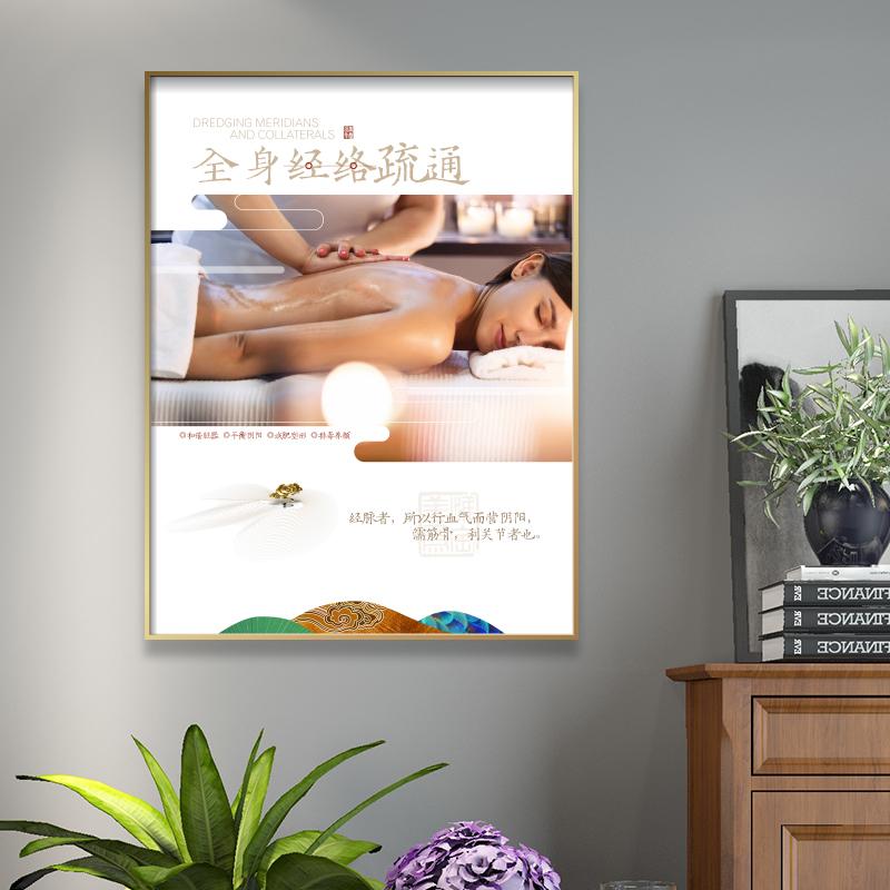 美容院装飾画養生保健按摩経絡疏通ポスターリンパ暖宮広告ポスター掛け絵