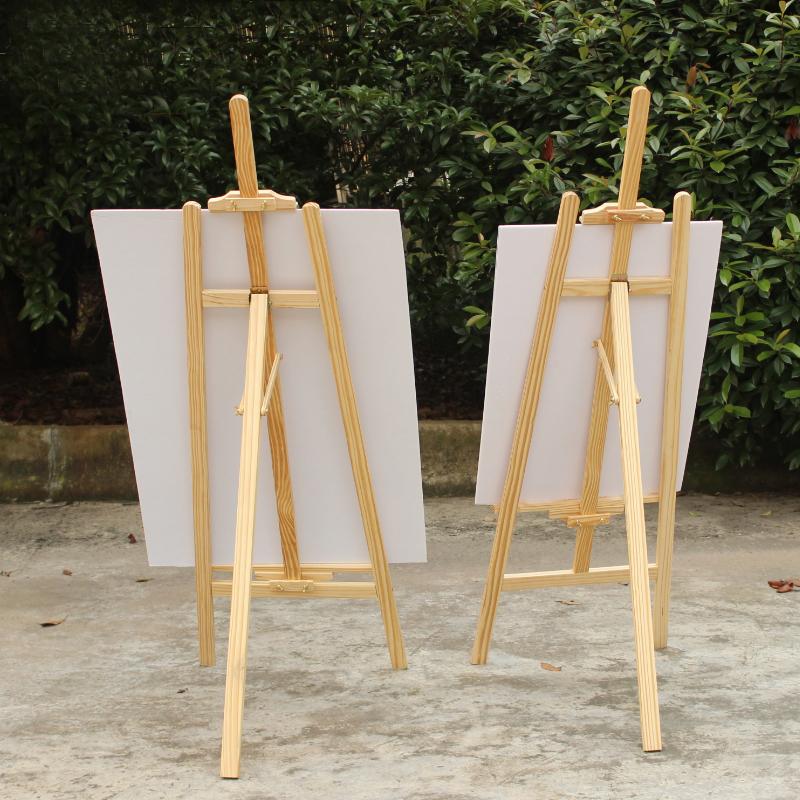 实木KT板展架折叠三角挂画架广告架立式落地展示架木质POP海报架