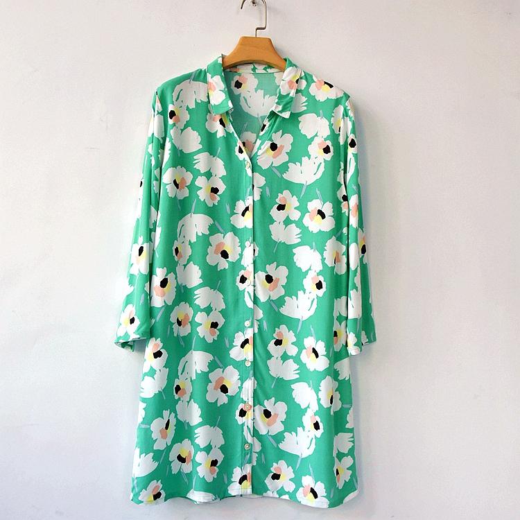 包邮 女士人造棉印花衬衫夏季中长款宽松慵懒薄款防晒衫外搭上衣 - 封面