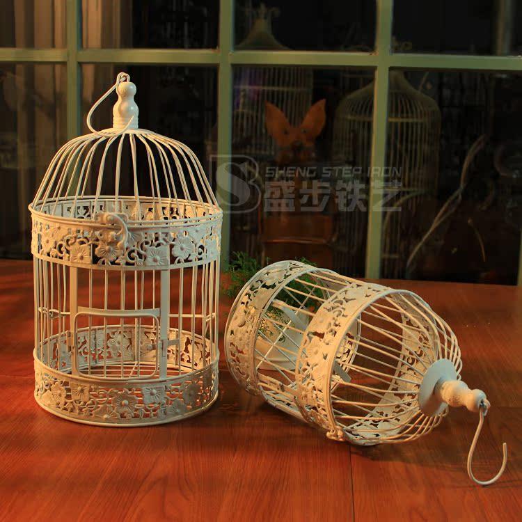 Европейский металл окрашенный белый кованого железа Птица клетке висит окна украшения фотографии реквизит орнамент попугая клетке