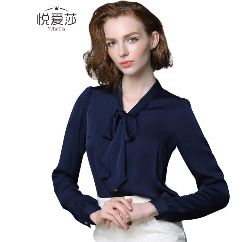 清仓价 纯色真丝衬衫女长袖桑蚕丝上衣衬衣五分袖中袖深蓝色多款