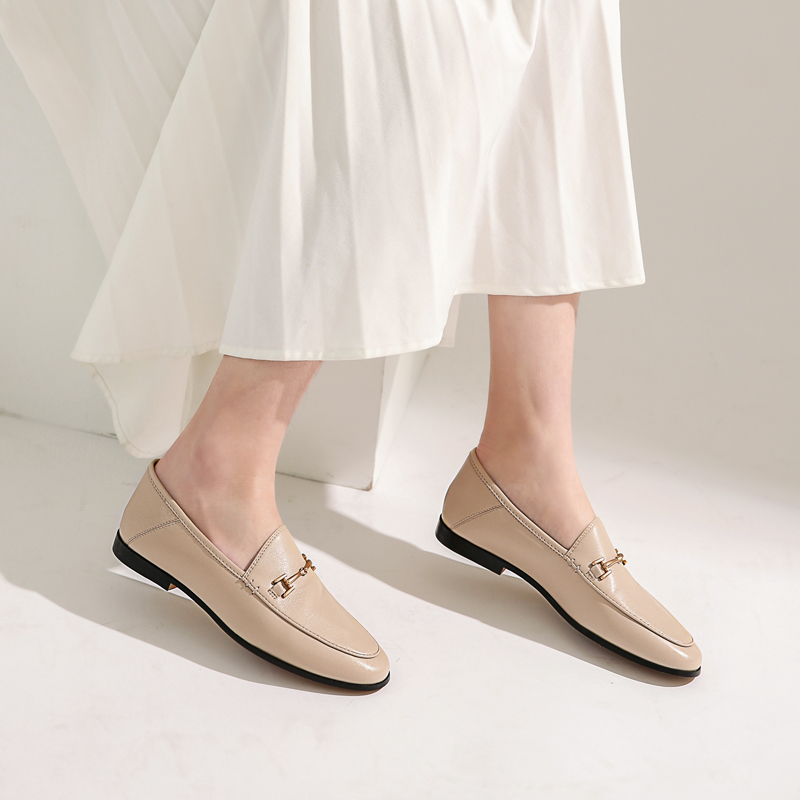 2020 new classic British horse clasp leisure lefook shoes deerskin comfortable interior flat bottom spring womens single shoes