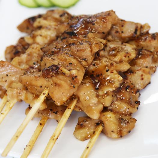 黑胡椒柠檬味腿肉串70g 5串日式黑椒鸡肉串微波烧烤串 便利店食材