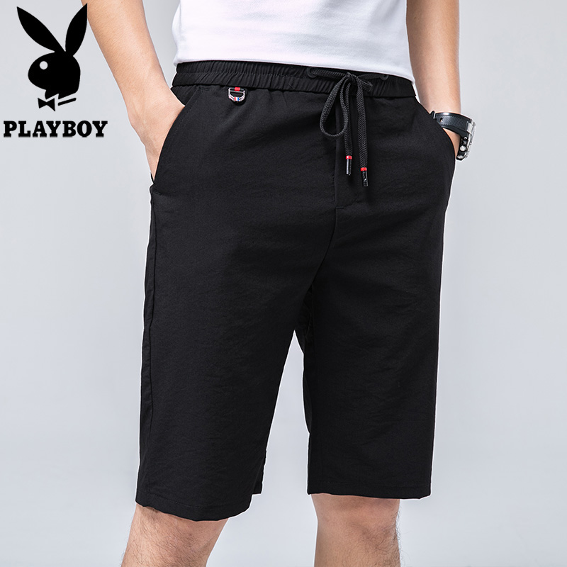 Playboy / Playboy casual shorts mens summer slim slim fit straight tube ins Hong Kong Style versatile 5-point pants