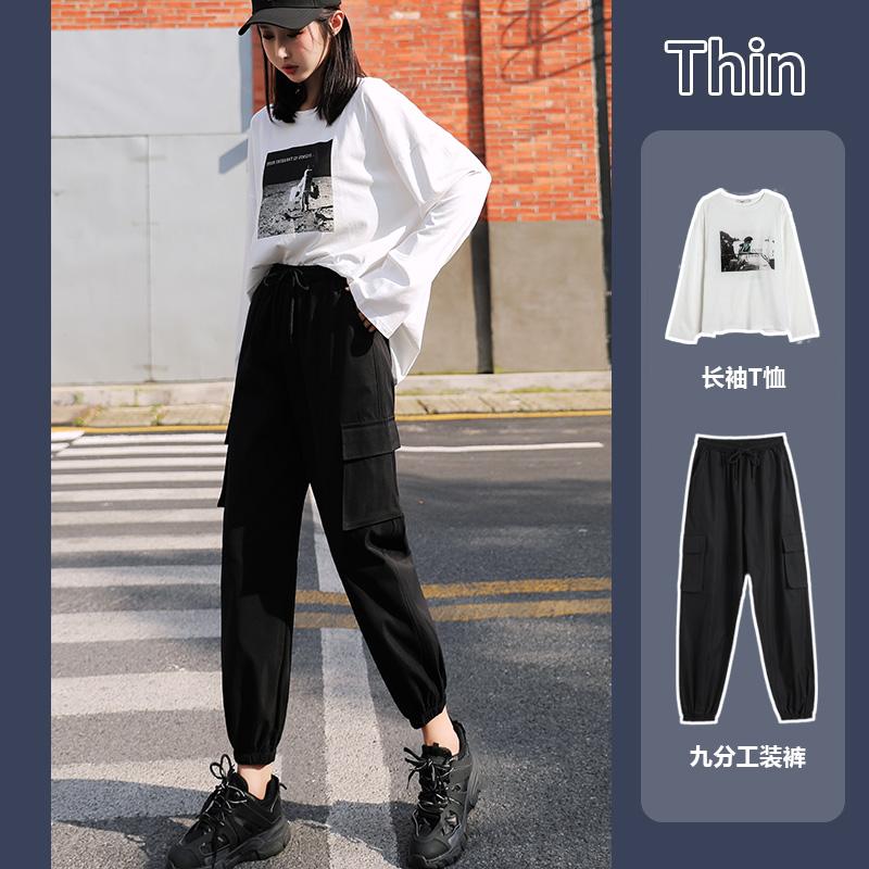 工装裤女2020秋季新款高腰显瘦黑色九分百搭宽松小个子束脚休闲裤
