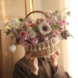 手提花籃花筐竹編藤編柳編織客廳裝飾擺件插花假花藝水果小籃子