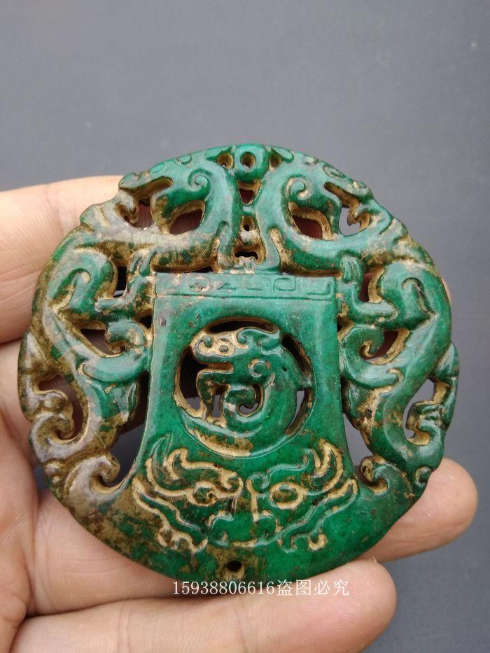 Антикварная антикварная коллекция копия Древний нефрит и нефрит верх имеет Лонгфэн нефрит автомобиль висит старые объекты