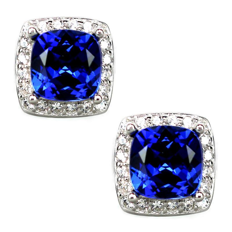 枕形正方形坦桑蓝宝石耳钉女纯银镶钻气质蓝色坦桑石耳环彩宝首饰