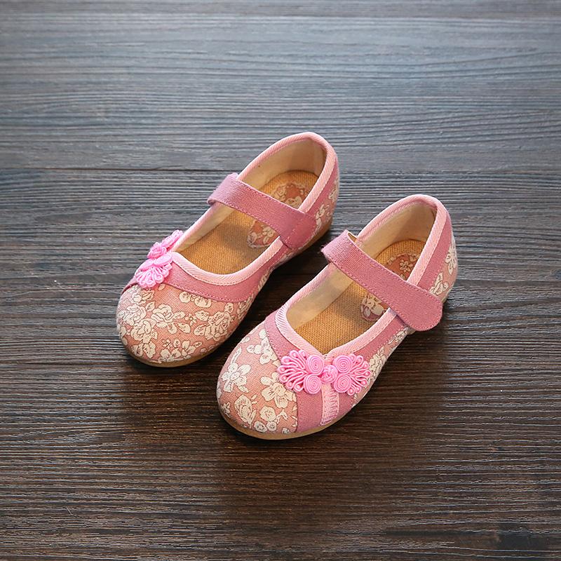 儿童绣花鞋女童民族风亚麻汉服古装老北京布鞋大童中童学生演出鞋