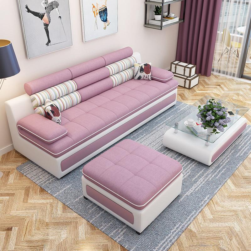 Ткань диван современный простой гостиная небольшой квартира диван съемный три человека сочетание мебель легко ткань диван
