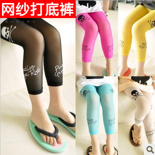 Gauze mesh leggings summer slim bottoming socks skull print pantyhose wild Pants