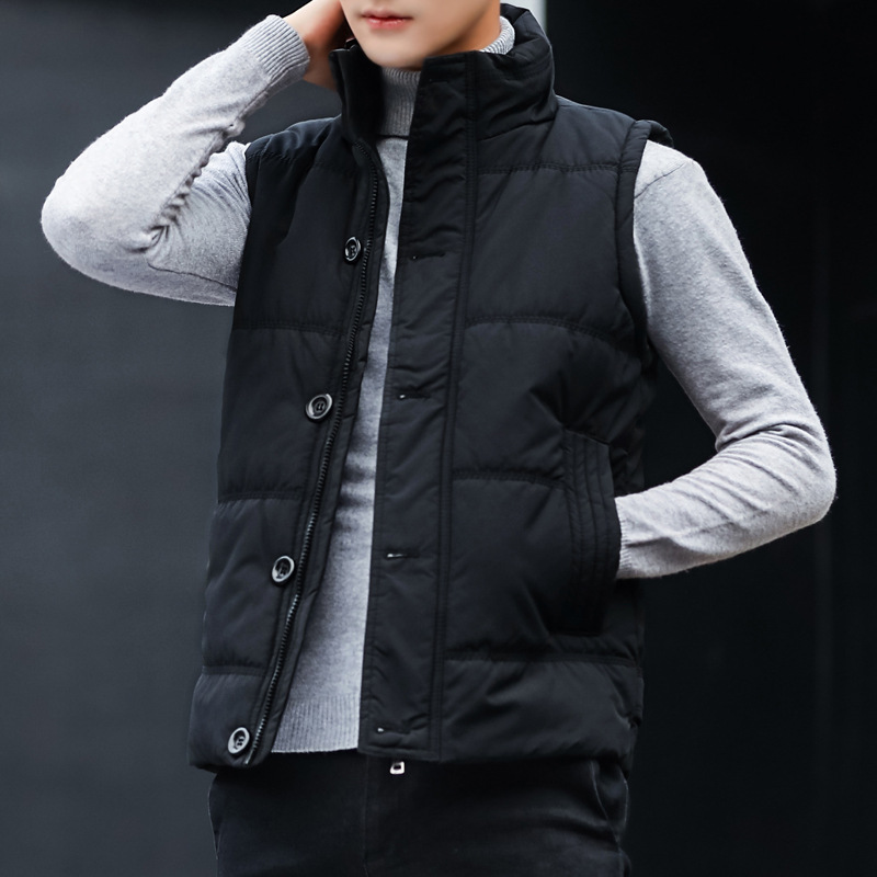Cotton waistcoat mens autumn and winter new Korean slim and handsome cotton jacket warm vest youth sleeveless jacket