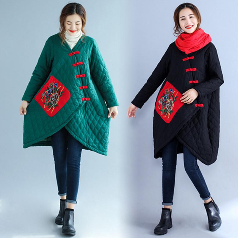 民族风棉麻棉衣2018秋冬装新款宽松女装纯色长袖中长款大摆外套