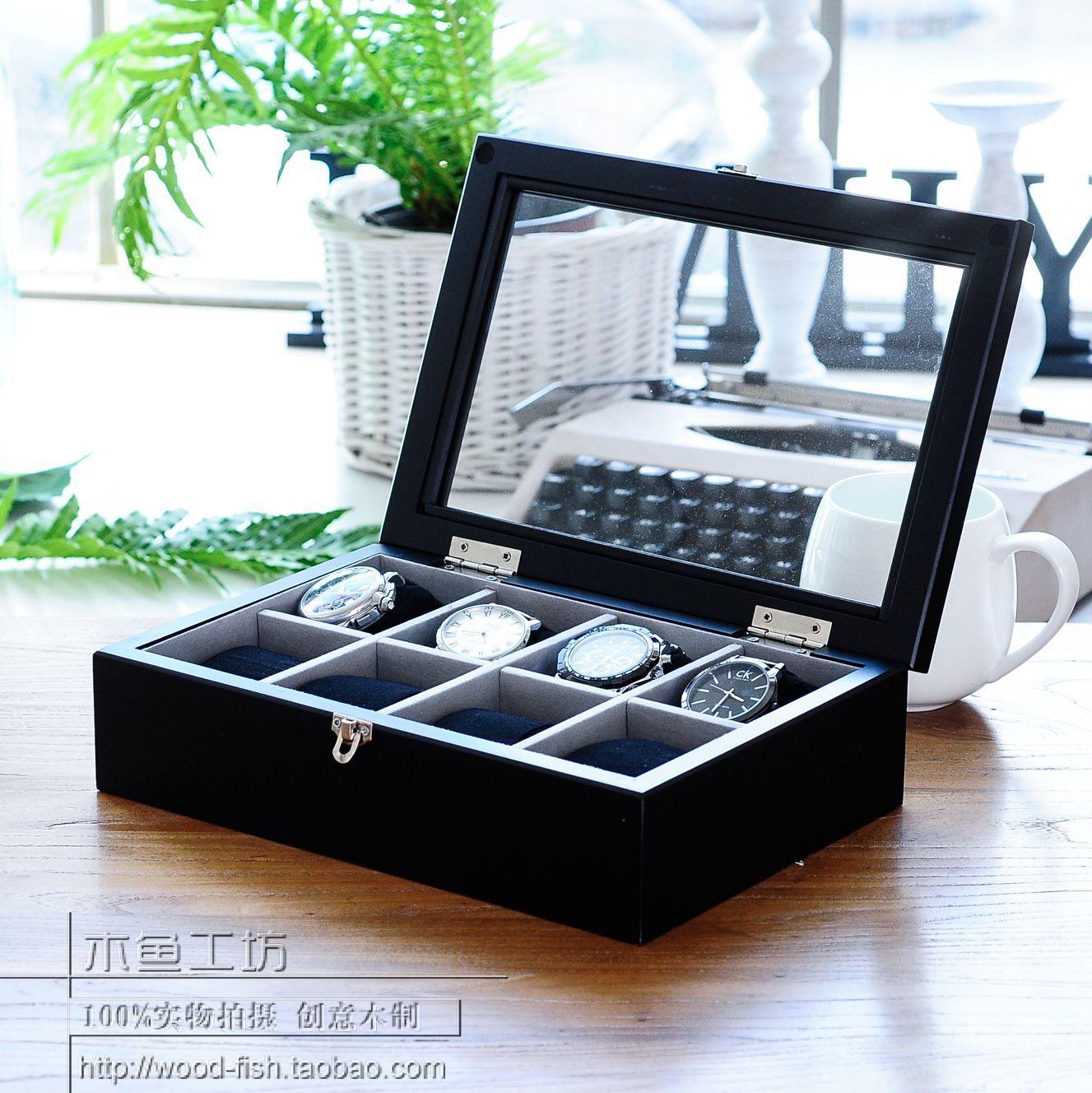 Пост древесины деревянные часы коробки хранения ювелирных поле коллекции коробки хранения коробка с восемь полос