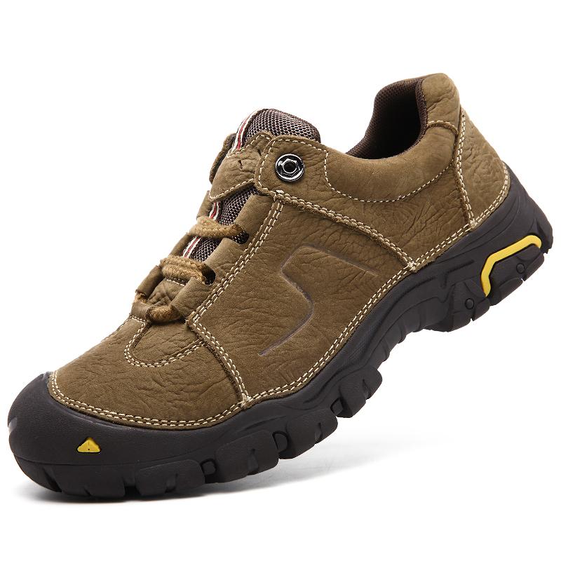 真皮金戈 骆驼户外运动休闲男鞋耐磨防滑登山鞋磨砂头层牛皮鞋