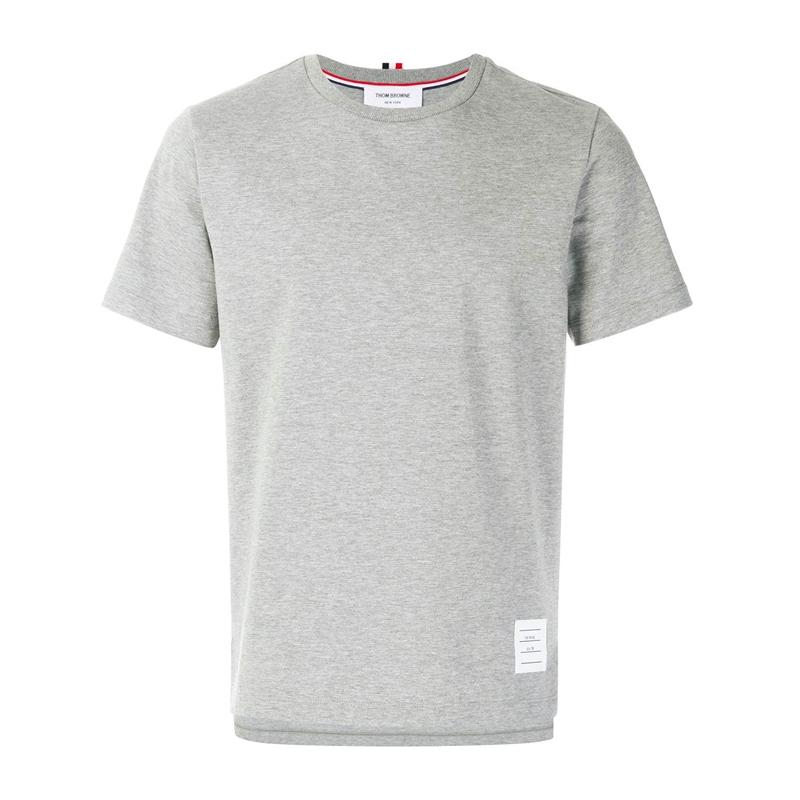 THOM BROWNE 2020春夏新款男士灰色时尚全棉短袖T恤MJS067A 00042