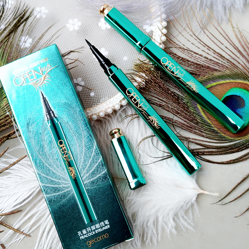 The peacock eyeliner is quick, dry, waterproof, and sweat resistant.