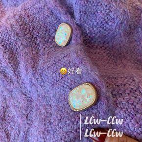 开衫毛衣2021春新款时尚V领单排扣麻花羊绒开衫女慵懒风毛衣外套