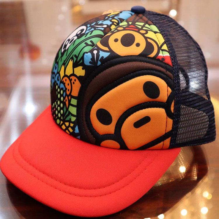 现货儿童帽子彩色猴子卡通动物乐园鸭舌帽 太阳帽 童帽 遮阳帽