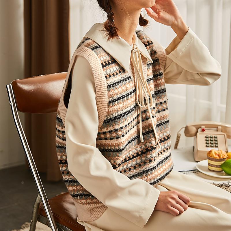唐狮V领马甲女毛衣背心外穿马夹百搭针织衫韩版短款坎肩宽松毛线