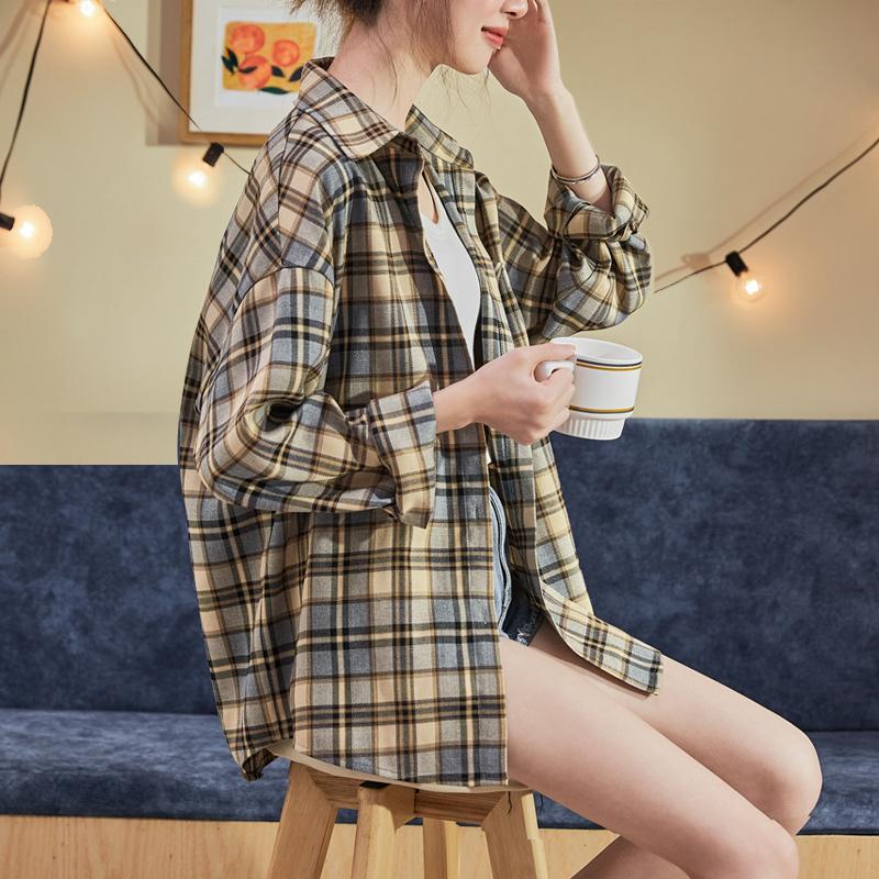 新款2021年春款新时尚格子衬衫女长袖衬衣外套韩版设计感小众上衣