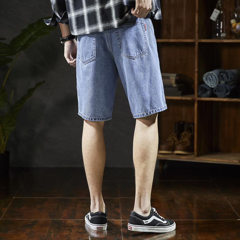 Tang lions new jeans shorts in summer 2019 mens Capris loose Korean mid pants mens knee breeches