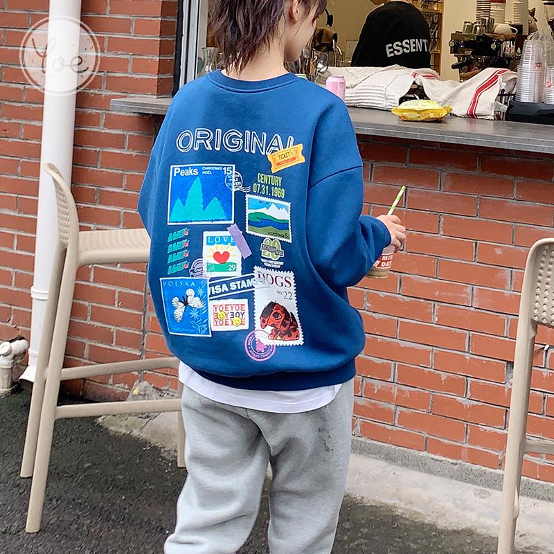 yoe卫衣女宽松潮ins加绒设计感小众洋气chic港风蓝色圆领上衣秋冬