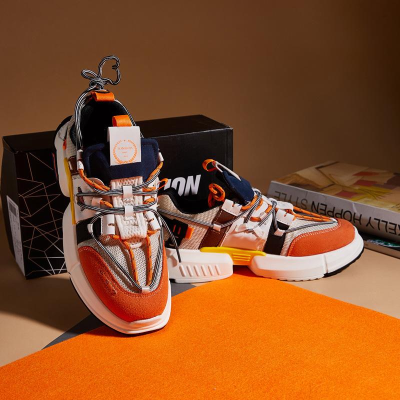 唐狮男士运动鞋休闲鞋青春潮流网面拼接复古运动慢跑鞋