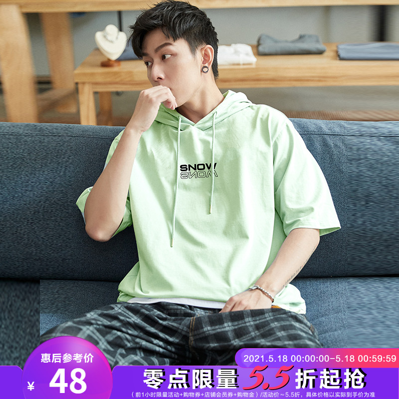 Tang Lion 2021 summer new half-sleeved sweater men's short-sleeved hooded T-shirt loose student fluorescent green INS tidal cool