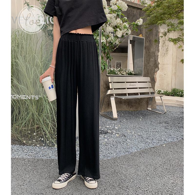 yoe阔腿裤女夏季新款薄垂感宽松高腰黑色显瘦休闲裤直筒ins潮百搭