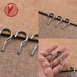 不锈钢304羊眼自攻螺丝带螺丝钩手拧螺丝不绣钢开口问号羊眼钩