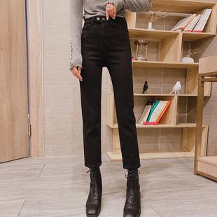 1028镁高镁服饰牛仔裤女2019秋冬新款加绒直筒牛仔裤高腰裤子潮价格