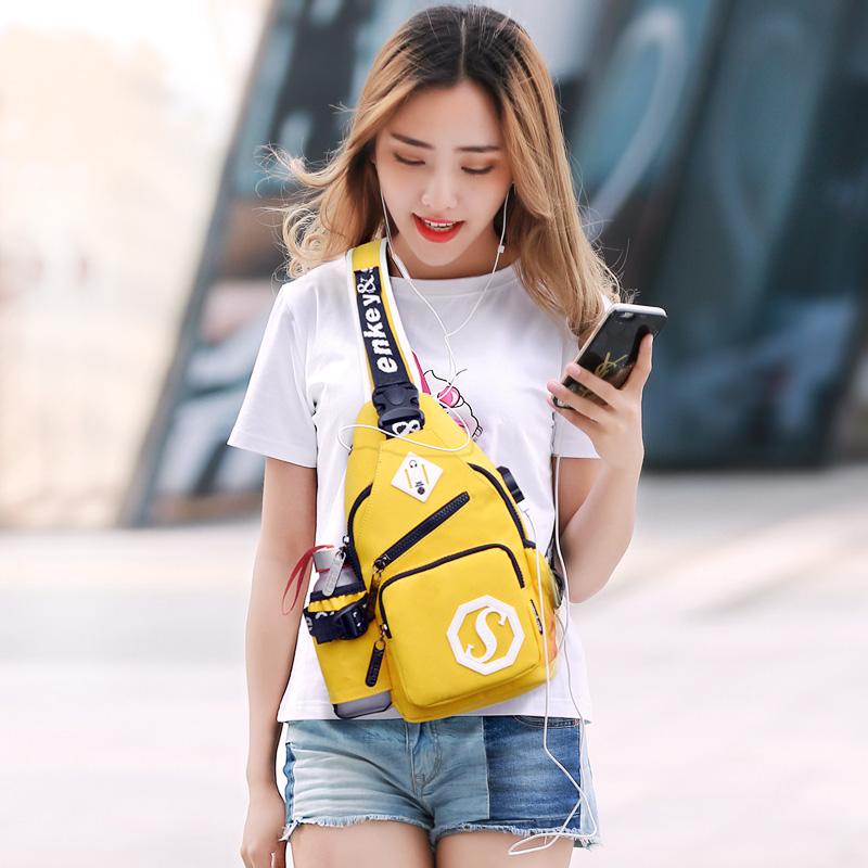 2018新款胸包女士韩版潮斜跨包帆布胸前挎包单肩包男运动时尚腰包